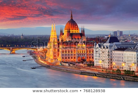 parlamento · Bina · şafak · Budapeşte · Avrupa - stok fotoğraf © givaga