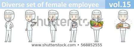 Operário de fábrica proteção casaco comida internet mulheres Foto stock © toyotoyo