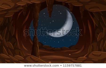 Cave entrance with cresent moon Stock photo © bluering