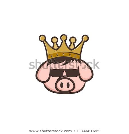 Photo stock: Roi · porc · couronne · porc · lard · cartoon