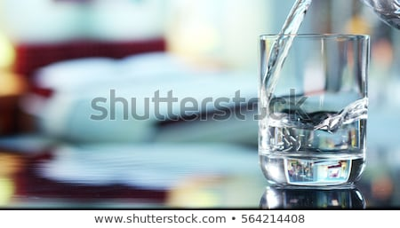 Glass of pure water with ice cubes Stock photo © karandaev