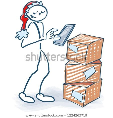 Stick figure orders new goods with a tablet computer Stock photo © Ustofre9