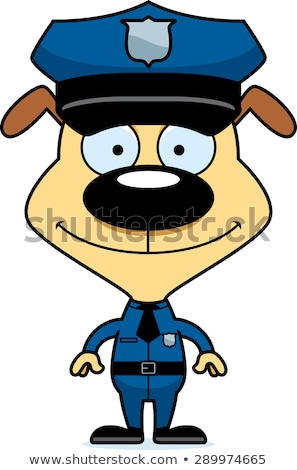 Cartoon glimlachend politieagent puppy Stockfoto © cthoman