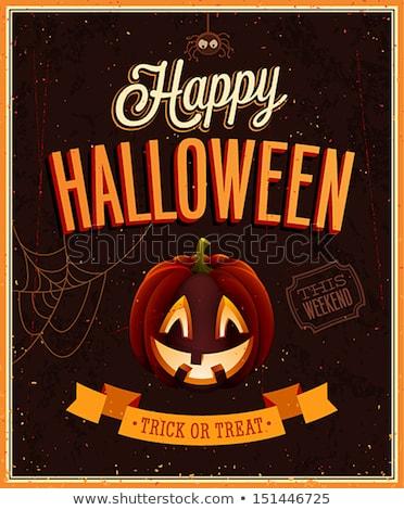 feliz · halloween · cartaz · texto · abóbora · vetor - foto stock © orensila