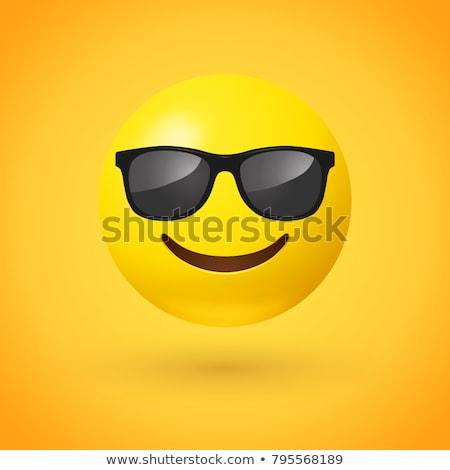 blanco · negro · alegría · amarillo · cara · sonriente · ilustración - foto stock © liolle