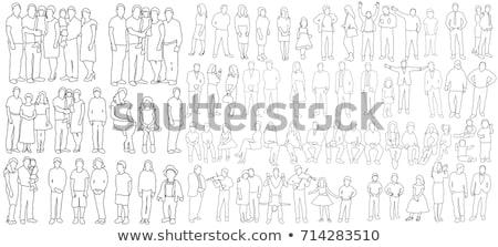 Personnes croquis groupe de gens silhouettes Photo stock © ESSL