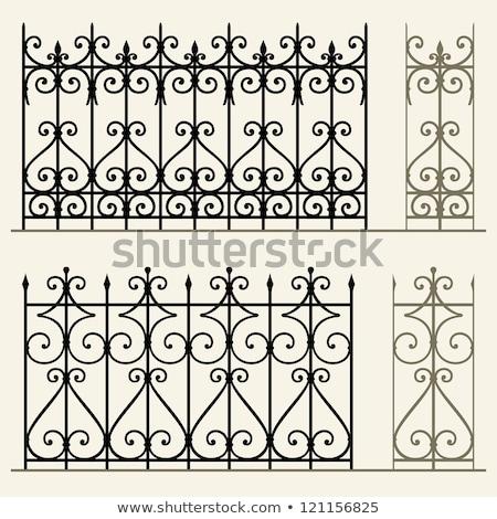 Set vecchio ferro recinzione isolato bianco Foto d'archivio © boggy