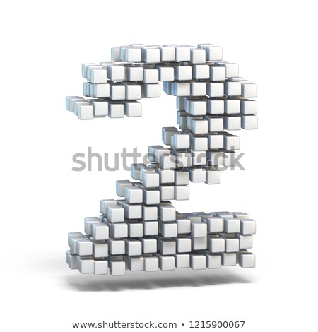White voxel cubes font Number 2 TWO 3D Stock photo © djmilic