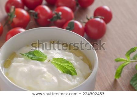 görög · joghurt · olajbogyók · tál · fetasajt · uborka - stock fotó © yuliyagontar