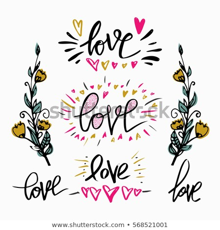 set of lettering word love branch of flowers hand drawn design elements perfect design for invita stock photo © kollibri