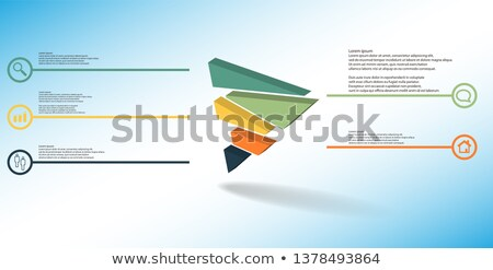 Blue and Green 3d Pyramidical Embossed Shape Vector Illustration Stock photo © cidepix