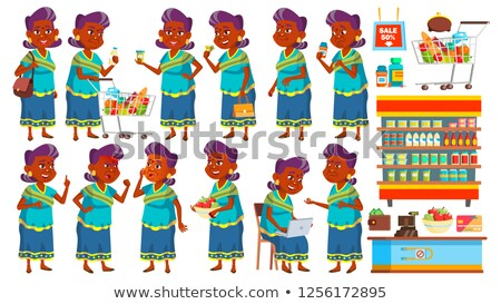 Indian Old Woman Poses Set Vector. Elderly People Shopping. Hindu. Asian. Senior Person In Sari. Age Stock photo © pikepicture