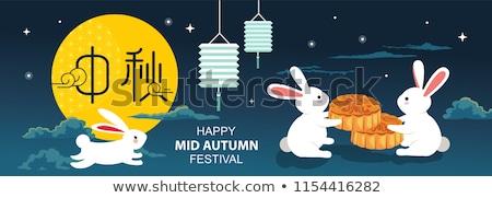 Moon Rabbit Symbol for Mid Autumn Festival Card Stock photo © robuart