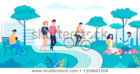 people in park couple woman vector illustration stock photo © robuart