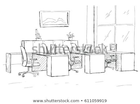kint · székek · ablakok · rajz · stílus · üzlet - stock fotó © Arkadivna