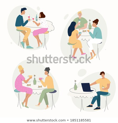 cafe with customers sitting outside set vector stock photo © robuart