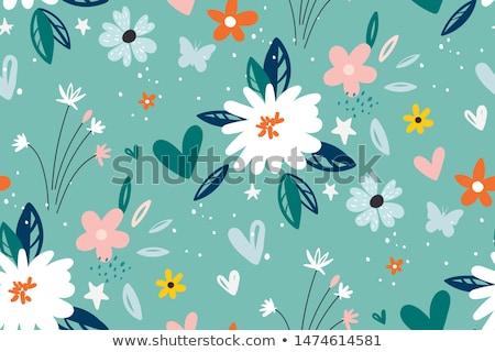 ベクトル · ピンク · 花 · 緑の葉 · 白 - ストックフォト © artspace