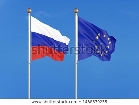два флагами Россия Евросоюз изолированный Сток-фото © MikhailMishchenko