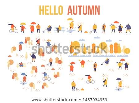 people walking in autumnal park fall season set stock photo © robuart