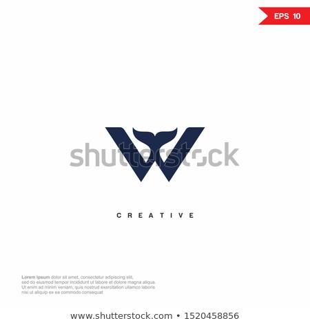 w logo fish letter icon vector symbol Stock photo © blaskorizov