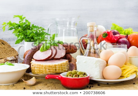 Foto stock: Set Of Farm Products Meat Eggs And Milk