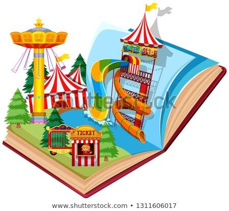 открытой книгой замок билета Vintage цирка Сток-фото © bluering