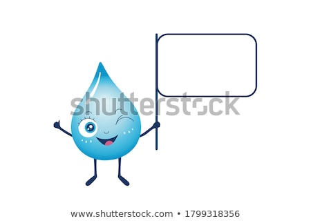 Blue Water Drop Cartoon Character Holding A Banner With Text Stock photo © hittoon