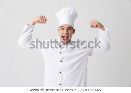 興奮した 若い男 シェフ 孤立した 白 ストックフォト © deandrobot