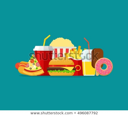 Stockfoto: Fast · food · ontwerp · stijl · zwarte · Geel · witte