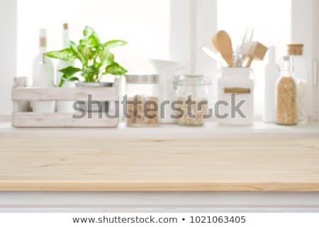 Pişirme mutfak masası ahşap taş gıda Stok fotoğraf © karandaev