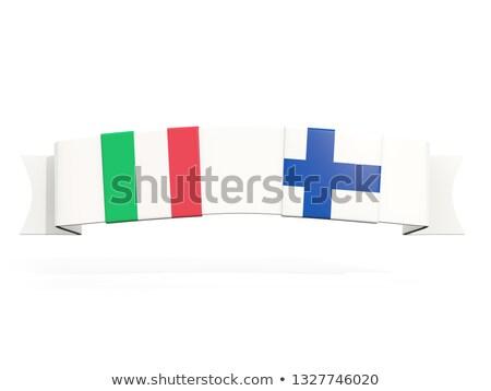 Banner twee vierkante vlaggen Italië Finland Stockfoto © MikhailMishchenko