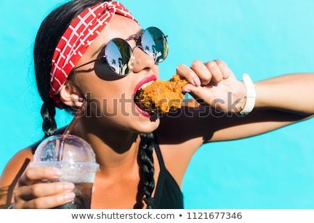 Cute chicken in black sunglasses Stock photo © liolle