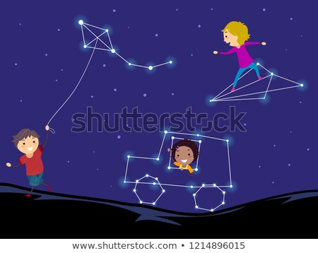 gyerekek · játszanak · papírsárkány · illusztráció · lány · gyerekek · gyermek - stock fotó © lenm