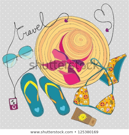 Summer Vacations Girl Drawing Image on Sand Vector Stockfoto © robuart