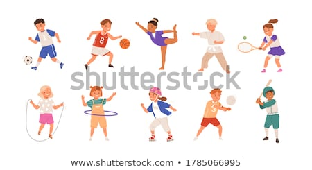 Set of children playing hula hoop Stock photo © bluering