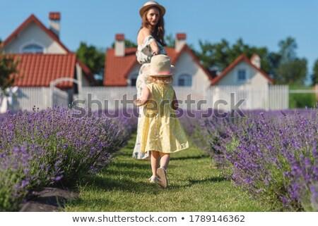 boldog · lány · ruha · virágzó · kert · szeretet · virág - stock fotó © ElenaBatkova