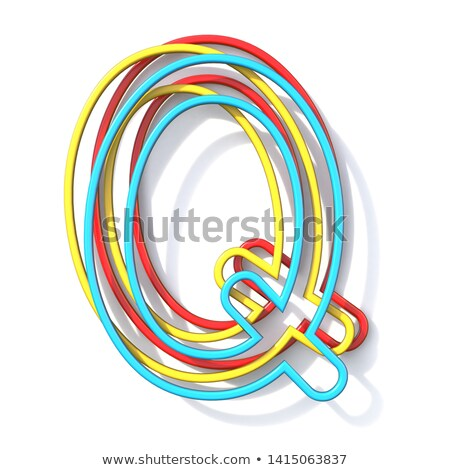 three basic color wire font letter q 3d stock photo © djmilic