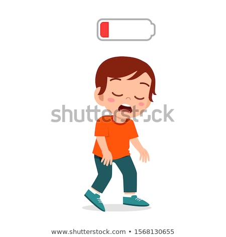 Sleepy Tired Characters Young Man And Girl Vector Stock photo © pikepicture
