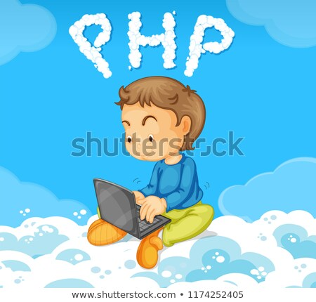 Jongen codering php wolk illustratie computer Stockfoto © colematt