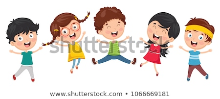 happy kids cartoon characters group Stock photo © izakowski