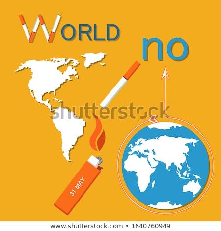 Dünya tütün gün poster sigara Stok fotoğraf © robuart