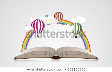 Gondolkodik felhő könyv történet illusztráció színes Stock fotó © lenm