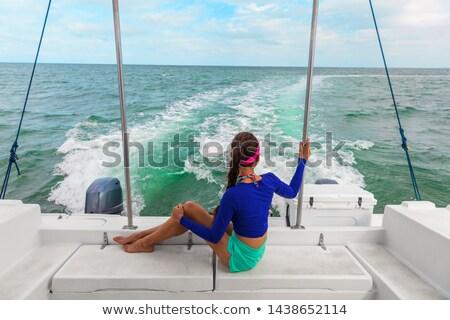 Utazás csónak kirándulás turné nő turista Stock fotó © Maridav