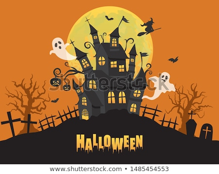 Halloween cute vector greeting cards, posters, banner with witch and haunted house, castle Stock photo © marish