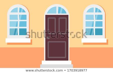 Casă fatada intrare uşă ferestre vector Imagine de stoc © robuart