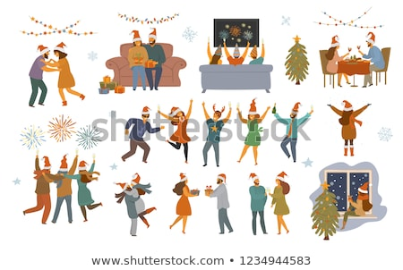 Foto stock: Family And Friends Celebrate New Year Isolated
