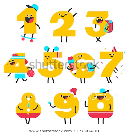 educational cartoon numbers set with sport objects stock photo © izakowski