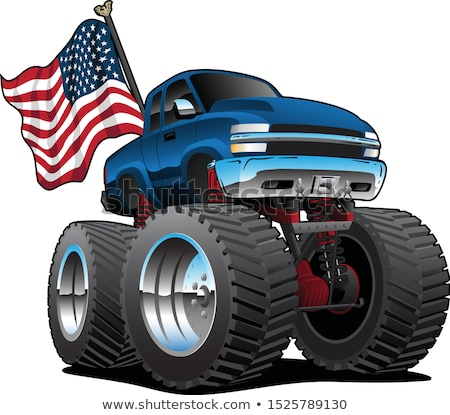 Monster Pickup Truck with USA Flag Cartoon Isolated Vector Illustration Stock photo © jeff_hobrath