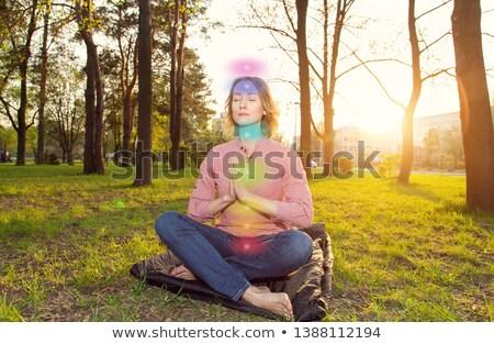 woman meditating in summer park with seven chakras Stock photo © dolgachov