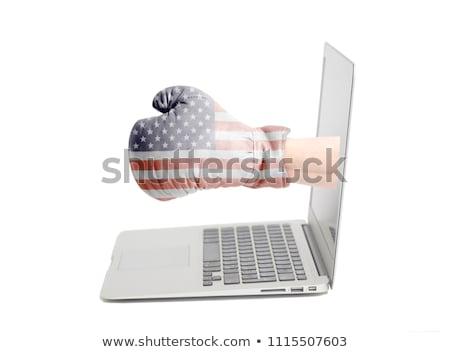 Mão luvas de boxe fora laptop efeitos Foto stock © ra2studio